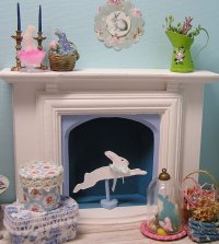 Fireplace and Rabbit decor