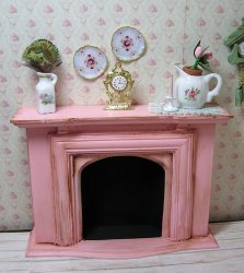 Fireplace Antique pink and mantel Decorations