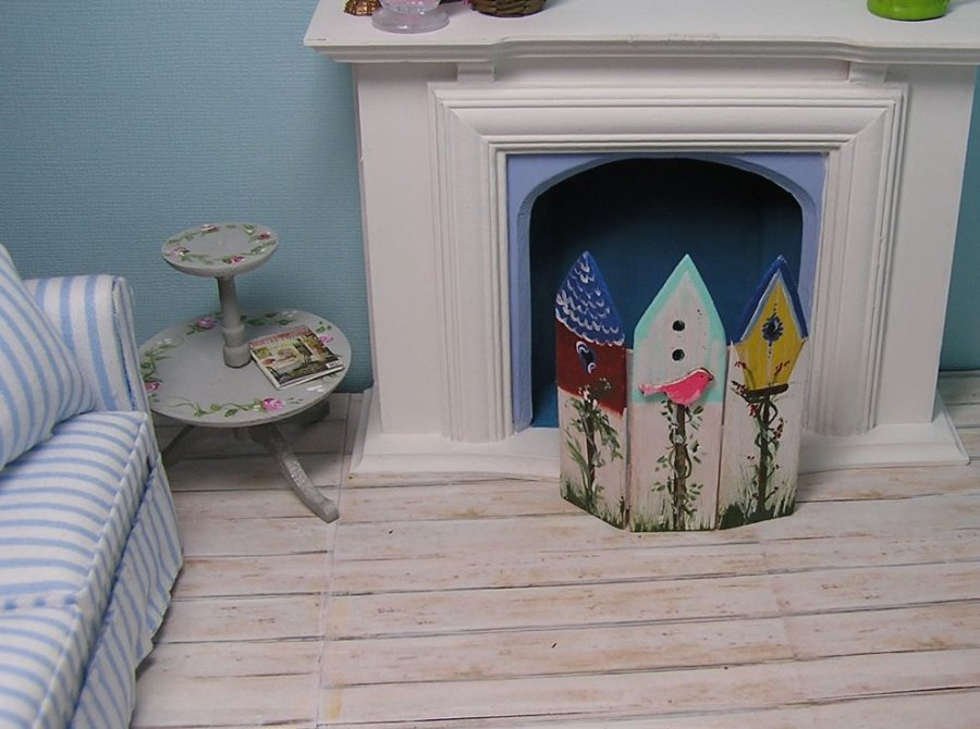 Fireplace Screen Bird houses - Click Image to Close