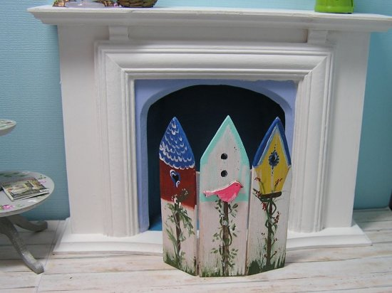 Fireplace Screen Bird houses