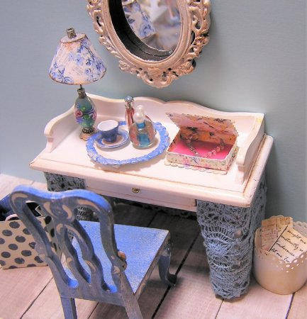 Dressing Table with Blue Chair and accessories