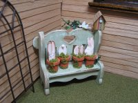 Bench Rabbits in Pots