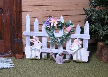 Bunny Rabbit Fence Yard Art